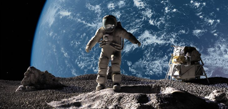The astronaut on a background of a planet
